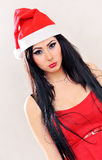 Santa claus sad girl Royalty Free Stock Images