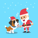 Santa claus with saint bernard dog Stock Photography