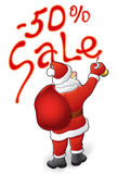 Santa Claus, sale - 50. Christmas sale, discounts - 50 Santa Claus. Vector illustration Royalty Free Stock Photos