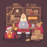 Santa Claus sammanträde på skrivbordet i hans kontor med jordlotter royaltyfri illustrationer