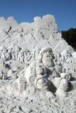 Santa Claus Sand Sculpture Royaltyfria Foton