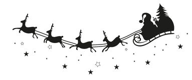Santa Claus, saneczki, renifer Zdjęcie Stock