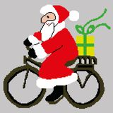 Santa Claus, Santa Claus on a bike with a gift drawn by squares, pixels. Greeting card happy new year. Vector illustration vector illustration