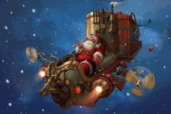 Santa claus. Sleigh christmas wishing  hut motor scooter vespa vector illustration