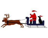 Santa Claus with Santa Dog Stock Photography