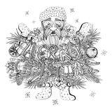 Santa Claus, sapin s'embranche, des cadeaux, Seth, vecteur illustration libre de droits