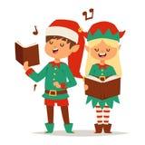 Santa Claus scherza gli assistenti dell'elfo del fumetto Fotografia Stock Libera da Diritti