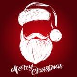 Santa Claus, schizzo disegnato a mano dell'illustrazione di vettore di simbolo di Natale, testo calligrafico illustrazione di stock