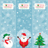Santa Claus, Schneemann, Baum, Fahne Stockbild