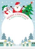 Santa Claus, Schneemann, Baum, Rahmen Stockfotos