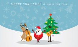 Santa Claus, Schneemann, Ren, Musik-Ikonen-Hintergrund spielend Lizenzfreie Stockfotos
