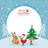 Santa Claus, Schneemann, Ren, Musik-Rahmen spielend Lizenzfreie Stockfotos