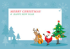Santa Claus, Schneemann, Ren, Musik-Rahmen spielend Lizenzfreies Stockbild