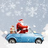 Santa Claus on scooter Stock Images