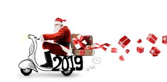 Santa Claus on scooter royalty free stock photo