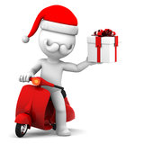 Santa Claus on scooter holding gift box. Santa Claus deliver Christmas gifts on a scooter Stock Image