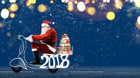 Santa Claus on scooter Royalty Free Stock Images