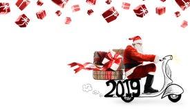 Santa Claus on scooter stock photos