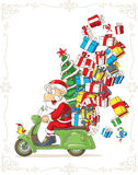 Santa Claus on Scooter Silly Vector Cartoon Stock Photo
