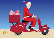 Santa claus on scooter. Santa claus on vintage red scooter Royalty Free Stock Photos