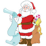 Santa Claus with a scroll and sack of gifts Stock Photo