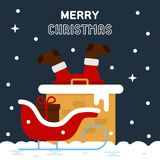 Santa Claus se pegó en una chimenea ilustración del vector
