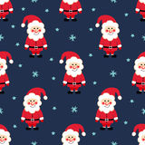 Santa Claus seamless Christmas pattern. Santa Claus, snow and stars on blue background. Royalty Free Stock Image