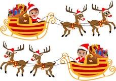 Santa Claus in seinem Weihnachtsschlitten oder -Pferdeschlitten Stockfotos