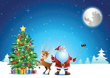 Santa claus selfie with deer and christmas tree before send gift stock images