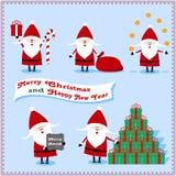 Santa Claus Set avec des présents, oranges, sucrerie, cadeaux de sac Illustration Stock
