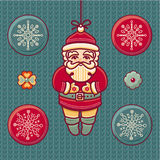 Santa Claus. Set of color Christmas toys. Stock Photography