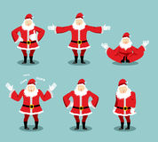 Santa Claus set different poses. Santa with beard in red suit e. Xpression of emotions. Christmas Evil character and kind. Sad and happy. Aggressive and vector illustration