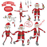 Santa Claus set.Humorous flat figure Stock Images