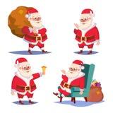 Santa Claus Set Isolated Vector Het karakter van beeldverhaalkerstmis Klassiek Rood Kostuum Goed voor Vlieger, Kaart, Affiche, De stock illustratie