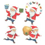 Santa Claus set watercolor illustration. Santa Claus in different poses. Christmas gifts in the hands of Santa Claus