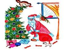 Santa Claus setzt Geschenke unter den Baum Stockfotos