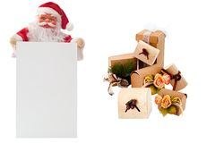 Santa Claus and several Christmas packages Royalty Free Stock Photography