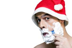 Santa claus shaving Royalty Free Stock Images