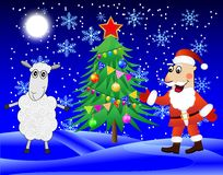 Santa claus, sheep and christmas tree  in the winter forest Royalty Free Stock Images