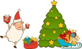 Santa Claus sheep with fir-tree. Stock Photography