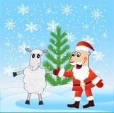 Santa claus and sheep near a fir-tree Royalty Free Stock Photo