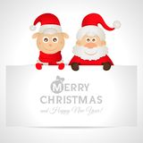 Santa Claus and sheep with a place for text. Greeting card 2015 Stock Photo