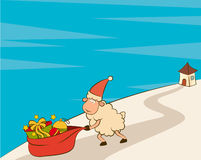 Santa Claus sheep and sack with gifts Royalty Free Stock Photography