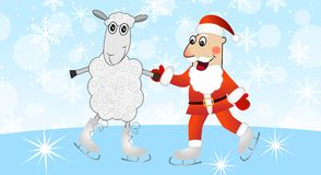 Santa claus with a sheep skate Royalty Free Stock Images