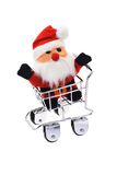 Santa Claus in shopping cart Stock Images