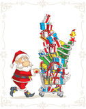 Santa Claus with Shopping Cart Vector Cartoon Royalty Free Stock Photo