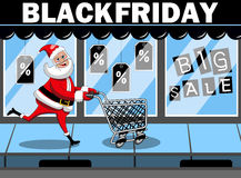 Santa Claus shopping running empty cart black friday sale Stock Photos