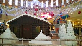 Santa claus shopping. A santa claus village in a italian shopping mall at bari Royalty Free Stock Photos