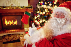 Santa Claus show thumb up Stock Photo