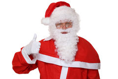Santa Claus showing on Christmas thumbs up isolated Royalty Free Stock Images